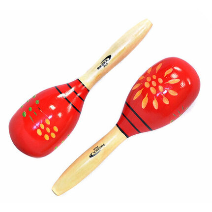 Percussion Plus Wooden Maracas Red & Patterned