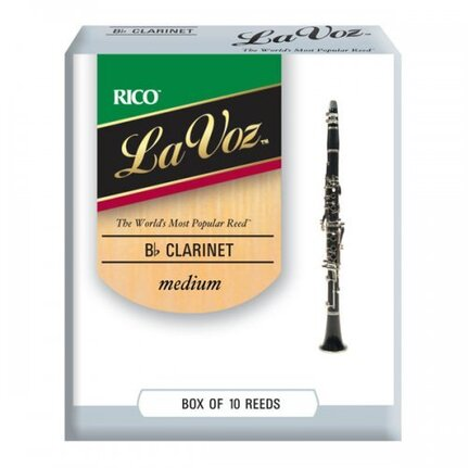 La Voz Bb Clarinet Reeds, Strength Medium, 10-pack