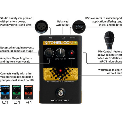 TC-Helicon Voicetone T1 Adaptive Tone & Dynamics Vocal Effects Processor