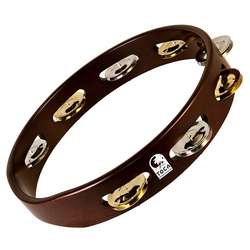 "Toca 10"" Dark Acacia Wood Tambourine With Single Row T1010D"