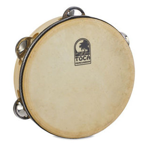 "Toca 7-1/2"" Wood Tambourine With Head & Single Row T1075H"