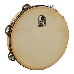 "Toca 9"" Wood Tambourine With Head & Single Row T1090H"
