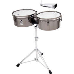 Toca Custom Deluxe Timbale Set In Black Chrome T1415BM