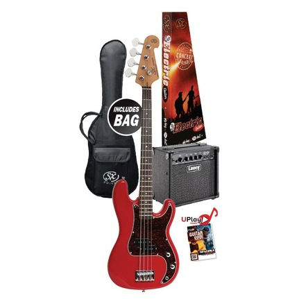 Essex VEP34FR-PK2 3/4 Size Short Scale Bass Guitar - Fiesta Red & Laney Amp Package