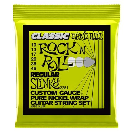 Ernie Ball 2251 Regular Slinky Classic Rock n Roll Pure Nickel Wrap Electric Guitar Strings 10-46 Gauge