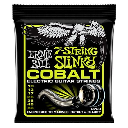 Ernie Ball 2728 Regular Slinky 7-String Cobalt Electric Guitar Strings 10-56 Gauge