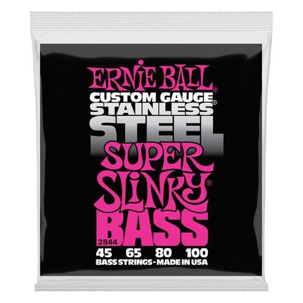 Ernie Ball 2844 Super Slinky Stainless Steel Electric Bass Strings 45-100 Gauge