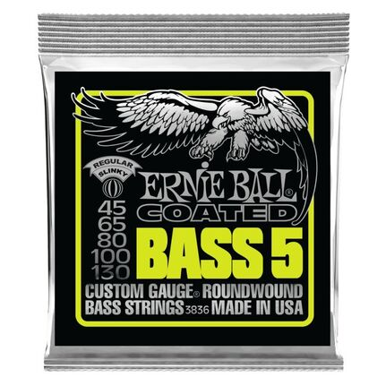 Ernie Ball 3836 Bass 5 Slinky Coated Electric Bass Strings 45-130 Gauge