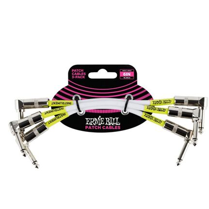 "Ernie Ball 6051 6"" Angle/Angle Patch Cable 3-Pack  - White"