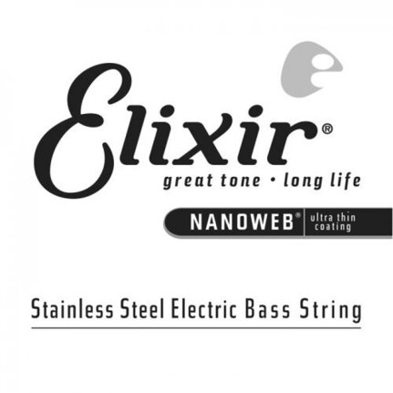 Elixir 13402 Nanoweb Single Stainless Steel Bass Guitar String .100
