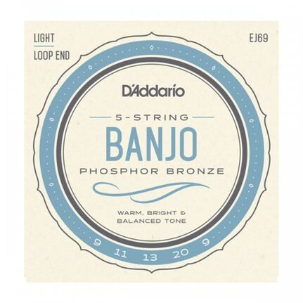 D'Addario EJ69 5-String Banjo Strings, Phosphor Bronze, Light, 9-20