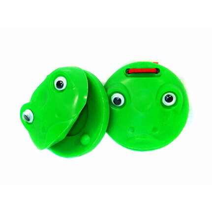 Percussion Plus Plastic Castanets Green Frog Design (1-Pair)