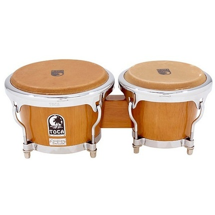 Toca Custom Deluxe Wood Bongos 7 & 8-1/2-Inch Antique Maple