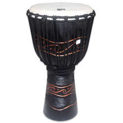 "Toca 12"" Wood Djembe Carved Waves Pattern TKSDJLW"